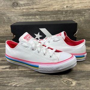 Converse CTAS White & Carmen Pink Low Top Sneakers